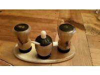 Vintage Scottish carved horn thistle cruet set salt pepper mustard