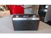 VINTAGE 1960S LIGHT WOOD ALLOY CASED FIDELITY RAD 19 TRANSISTOR RADIO AM FM RADIO GWO DECOR PROP