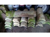 Authentic Stone round ridge tiles 17/18th century. 26 in total and cover approximately 40 ft.