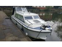 NORMAN 23 BOAT CABIN CRUISER RIVER BOAT ON THE THAMES CHERTSEY WITH 9.9HP ELECTRIC START OUTBOURD