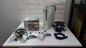 Xbox 360 Console 10 Games 2 Controllers Fully Tested & Working