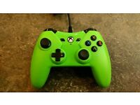 Green Wired Xbox One and Xbox 360 controller.
