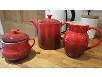 Le Creuset tea/coffee pot, suger bowl & milk jug