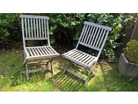 PAIR GARDEN CHAIRS PATIO CHAIRS HARDWOOD GO WITH TABLE GARDEN PARTY WEDDING