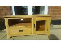 Solid Oak Tv Table Glass Display Cabinet