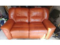 Light brown two seater leather sofa