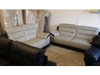 NEW Grey Black Leather 3 + 2 Seater Sofa Suite FREE LOCAL DELIVERY