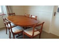 Wooden extendible table with 6 chairs