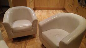 3 cream tub chairs