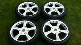 "Wolfrace 17"" alloy wheels and tyres"