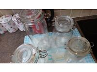 Glass ikea kilner style flip top jars, set of 4 excellent condition. Cash on collection