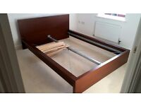 Ikea MALM standard double bed frame with 2 slatted bed bases