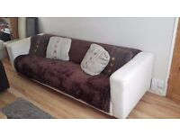 4-seater white sofa
