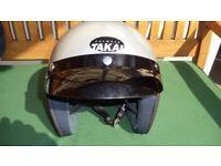 motorcycle open face helmet.
