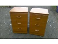 Matching pair of large three drawer bedside cabinets