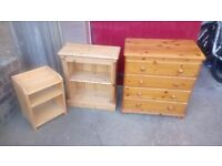 3 Pine units (chest of drawers, small bookcase, bedside unit)