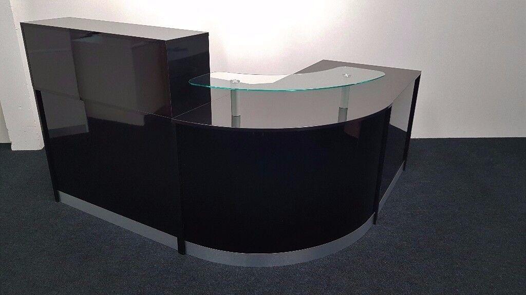 Ref 0423 Reception Desk In Black High Gloss 1800mm