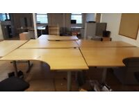 Quality Used Galant Ikea Curved Corner Office Desk & Chair x 7 Available