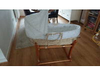 Moses basket with rocker stand excellent condition