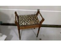 Piano Stool / Music Chair / reapoulstered Leopard print with internal storage
