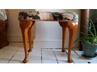 Vintage Vanity Stool With Wooden Legs and Asian Style Upholstery