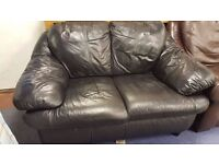 Small Black Leather Two Seater Sofa in Good Condition