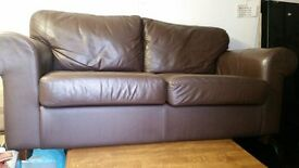 2 SEATER LEATHER SOFA- BROWN