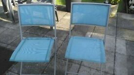 folding metal and fabric garden chairs x2