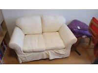 Cream Fabric 2 Seater Sofa, Machine-washable covers