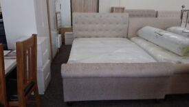 Julian Bowen Ravello Mink Chenille Fabric Double Bed Frame Can Deliver