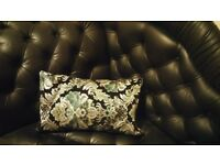Black Faux Leather Chaise Longue with Queen Anne legs