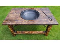 solid wood steel firepit