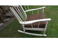 Beautiful shaped Rocking chair, ideal shaby chic project.