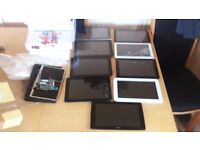 spares or repair . 14 faulty android tablets . mostly cracked outer screens .