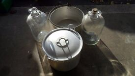 winemaking / preserving pans and demi johns
