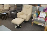 Furniture Village Sanza Cream Leather Swivel Chair Can Deliver