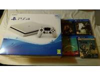 White PS4 Slim w/1 Controller and 4 Games