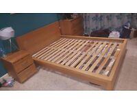 Ikea Malm Oak Vener Double Bed Frame