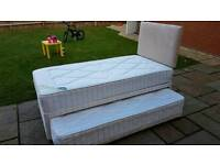 3ft single Guest Bed with a trundle bed underneath. Mattresses included.