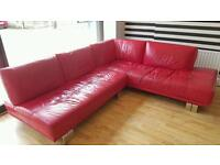 RED LEATHER CORNER SETTEE WITH FOOTSTOOL FOR SALE!!!!