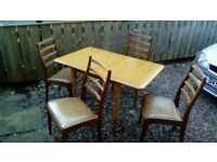 Drop sided Beech Table with 4 Teak Chairs