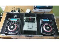 Pair of Numark NDX400 Plus Numark M101 Mixer & Flight Case