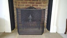 Fireplace cast iron back plate, grate and fire guard