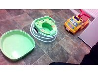 potty with lid top & step on one / very good condition £5