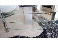 Glass TV unit, 3 tier