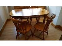 Solid Ext Pine Table and Six chairs
