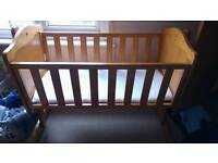 Childs wooden cot with matress