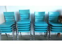 Set of vintage turquoise plastic chairs for children - free