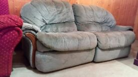 """Very comfy bluey/grey two seater sofa 6'8"""" long."""