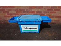 SHAKESPEARE FISHING TACKLE HOLDALL SEAT BOX PADDED STRAP SIDE CONTAINERS GOOD USED CONDITION